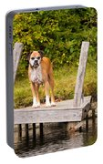 Boxer On Lake Dock Portable Battery Charger
