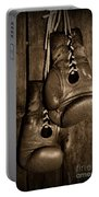 Boxing Gloves  Black And White Portable Battery Charger by Paul Ward