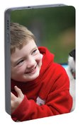 Boy, Age 6, Smiling With Jack Russell Portable Battery Charger