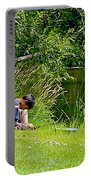 Boys Fishing In Pipestone National Monument-minnesota Portable Battery Charger