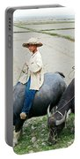 Boys On Water Buffalo In Countryside-vietnam Portable Battery Charger