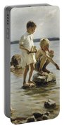 Boys Playing On The Shore Portable Battery Charger
