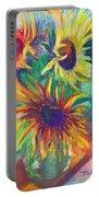 Brandy's Sunflowers - Still Life On Windowsill Portable Battery Charger by Talya Johnson