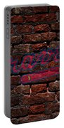 Braves Baseball Graffiti On Brick  Portable Battery Charger