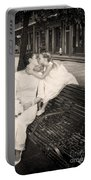 Bride And Daughter Kiss In Jackson Square New Orleans Portable Battery Charger