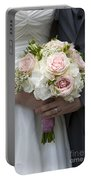 Bride And Groom Hold Wedding Bouquet Portable Battery Charger