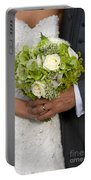 Bride And Groom With Wedding Bouquet Portable Battery Charger