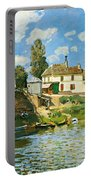 Bridge At Villeneuve-la-garenne Portable Battery Charger by Alfred Sisley