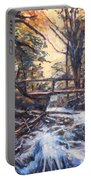 Morning Bridge In Woods Portable Battery Charger