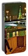 Bridge Over River Near The Kremlin At Night In Moscow-russia Portable Battery Charger