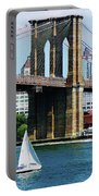 Bridge - Sailboat By The Brooklyn Bridge Portable Battery Charger