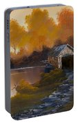 Covered Bridge In Fall Portable Battery Charger
