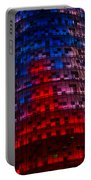 Bright Blue Red And Pink Illumination - Agbar Tower Barcelona Portable Battery Charger