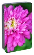 Bright Pink Zinnia Flowers Portable Battery Charger