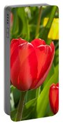 Bright Red Tulip Portable Battery Charger
