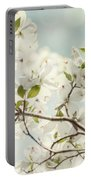 Bright White Dogwood Flowers Against A Pastel Blue Sky With Dreamy Bokeh Portable Battery Charger
