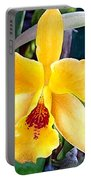 Bright Yellow And Red Cattleya Orchid Portable Battery Charger