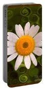 Bright Yellow And White Daisy Flower Abstract Portable Battery Charger