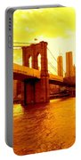 Brooklyn Bridge In Yellow Portable Battery Charger