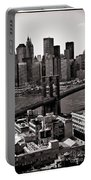 Brooklyn Bridge View In Sepia Portable Battery Charger