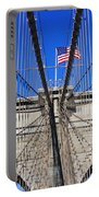 Brooklyn Bridge With American Flag Portable Battery Charger