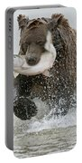 Brown Bear With Salmon Catch Portable Battery Charger by Gary Langley