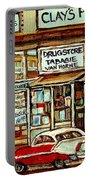 Brown Derby Van Horne Shopping Center Clay's Pharmacy Montreal Paintings City Scenes Carole Spandau Portable Battery Charger