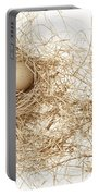 Brown Egg In Bird Nest Sepia Portable Battery Charger