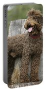Brown Labradoodle Standing On Tree Stump Portable Battery Charger