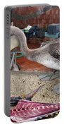 Brown Pelican At The Fish Market Portable Battery Charger