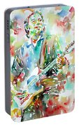 Bruce Springsteen Playing The Guitar Watercolor Portrait.3 Portable Battery Charger