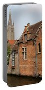 Bruges Houses With Bell Tower Portable Battery Charger by Carol Groenen