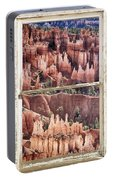 Bryce Canyon Utah View Through A White Rustic Window Frame Portable Battery Charger