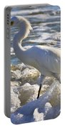 Bubbles Around Snowy Egret Portable Battery Charger