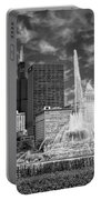 Buckingham Fountain Sears Tower Black And White Portable Battery Charger