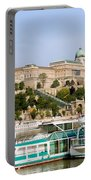 Buda Castle And Boats On Danube River Portable Battery Charger