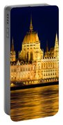 Budapest Parliament At Night Portable Battery Charger