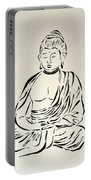 Buddha In Black And White Portable Battery Charger by Pamela Allegretto
