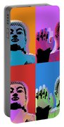 Buddha Pop Art - 4 Panels Portable Battery Charger by Jean luc Comperat