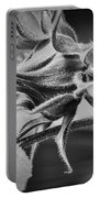 Budding Sunflower In Black And White Portable Battery Charger