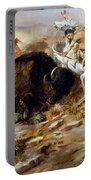 Buffalo Hunt Portable Battery Charger by Charles Russell