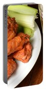 Buffalo Wings With Celery Sticks And Beer Portable Battery Charger