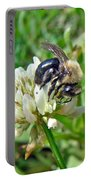 Bumblebee On White Clover Portable Battery Charger