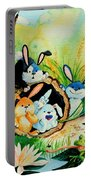 Bunnies Log And Frog Portable Battery Charger