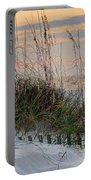 Buried Fence And Sea Oats Sunrise Portable Battery Charger