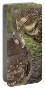 Burrowing Owl Feeding It's Chick Photo Portable Battery Charger