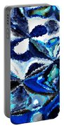 Bursts Of Blue And White - Abstract Art Portable Battery Charger by Carol Groenen