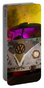Bus In A Cloud Of Multi-color Smoke Portable Battery Charger