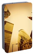 Business Architecture Skyscrapers In London Uk Golden Tint Portable Battery Charger