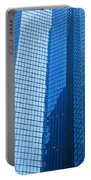 Business Skyscrapers Modern Architecture In Blue Tint Portable Battery Charger by Michal Bednarek